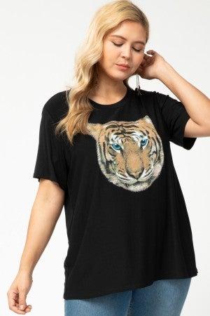Short Sleeve Tiger Print Graphic Tee