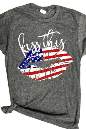 "Short Sleeve Grey ""Kiss This"" Patriotic Tee"