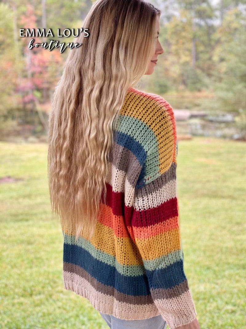 You Light Up My Life Rainbow Striped Open Front Cardigan