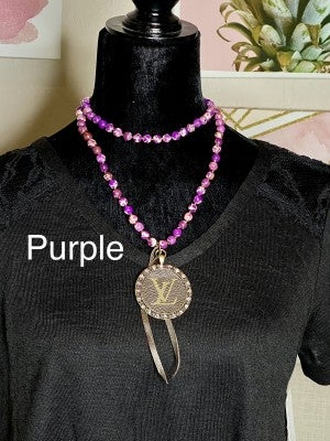LV Monogram Medallion Up-Cycled Hand Knotted Bead Necklace with Leather Fringe