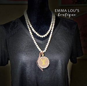 Cultured Pearl Necklace LV Up-Cycled Monogram Medallion