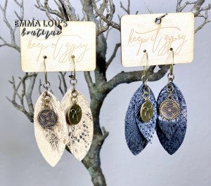 Feather Cut  Leather LV Up Cycled Earrings