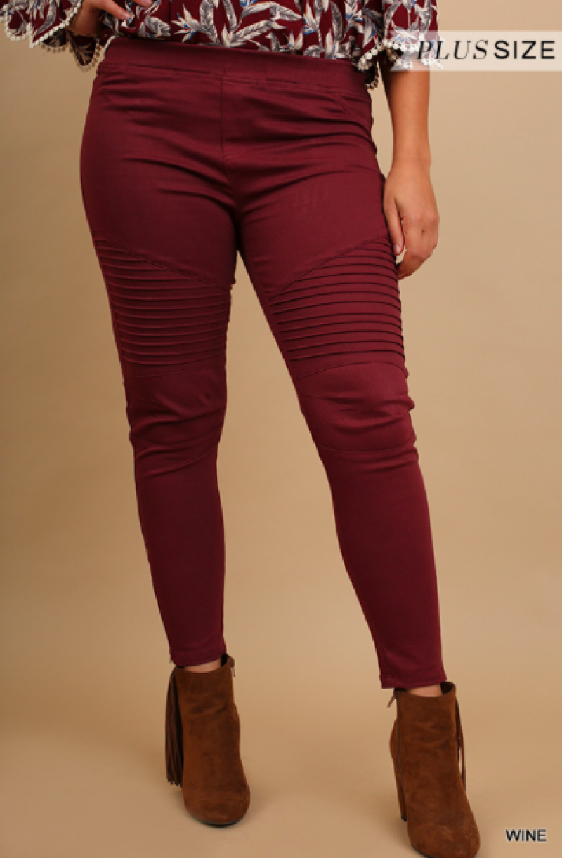 #Extra Washed Moto Jeggings with Pintuck and Zipper Detail