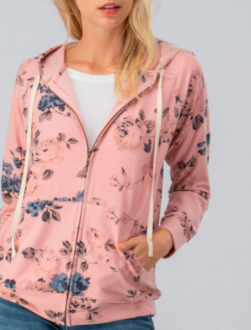 FLORAL ZIP FRONT FENCH TERRY HOODIE