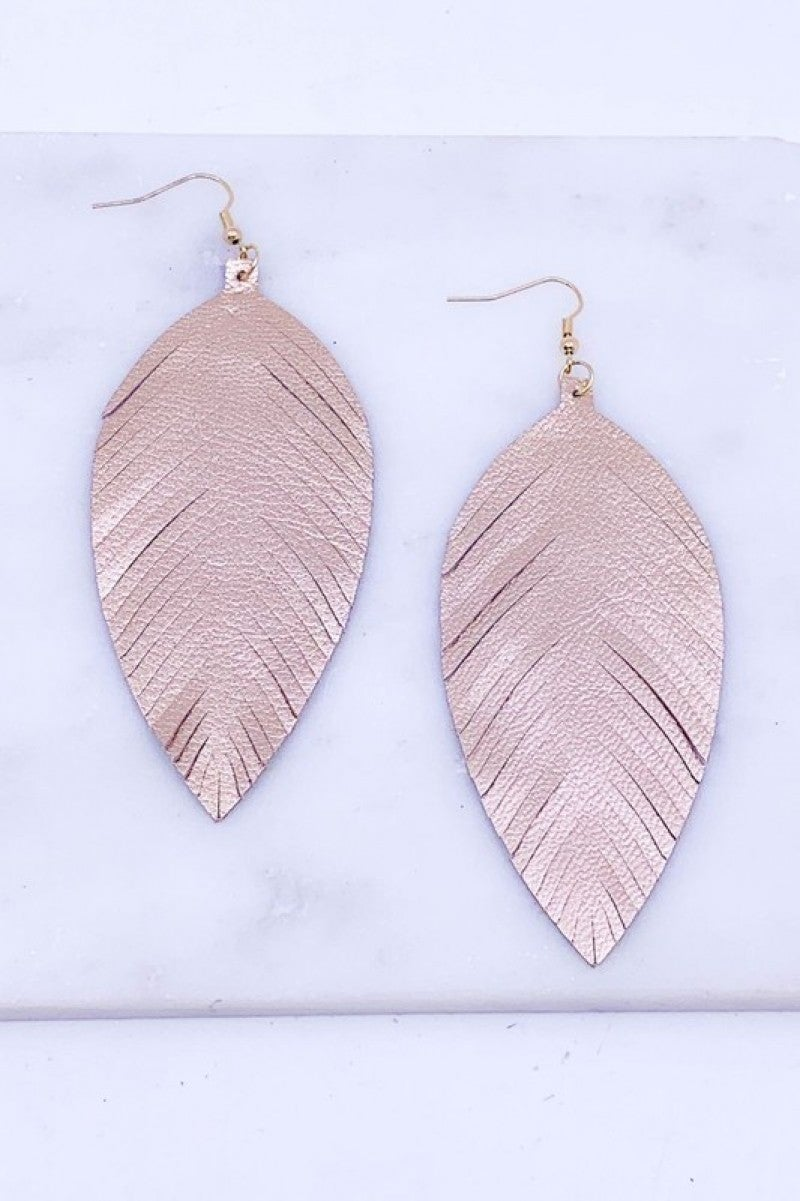 Genuine Leather Rose Gold Feather Earrings