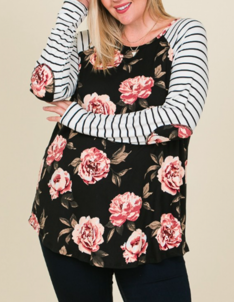 #Extra Black Floral Raglan Long Sleeve Top