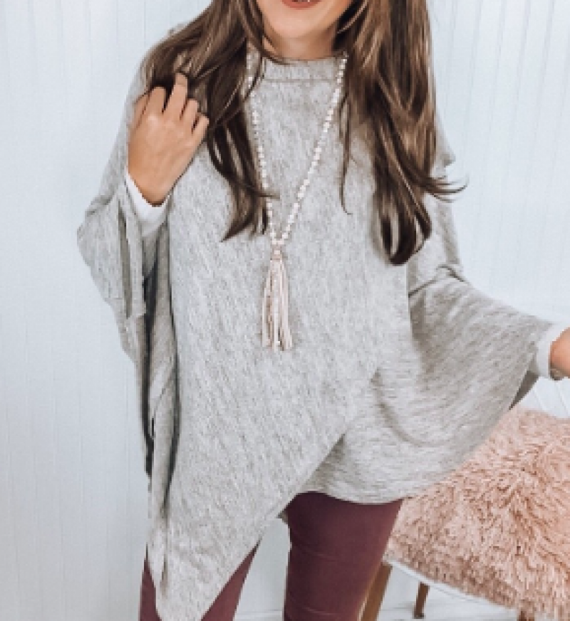 Oatmeal Cowlneck Poncho