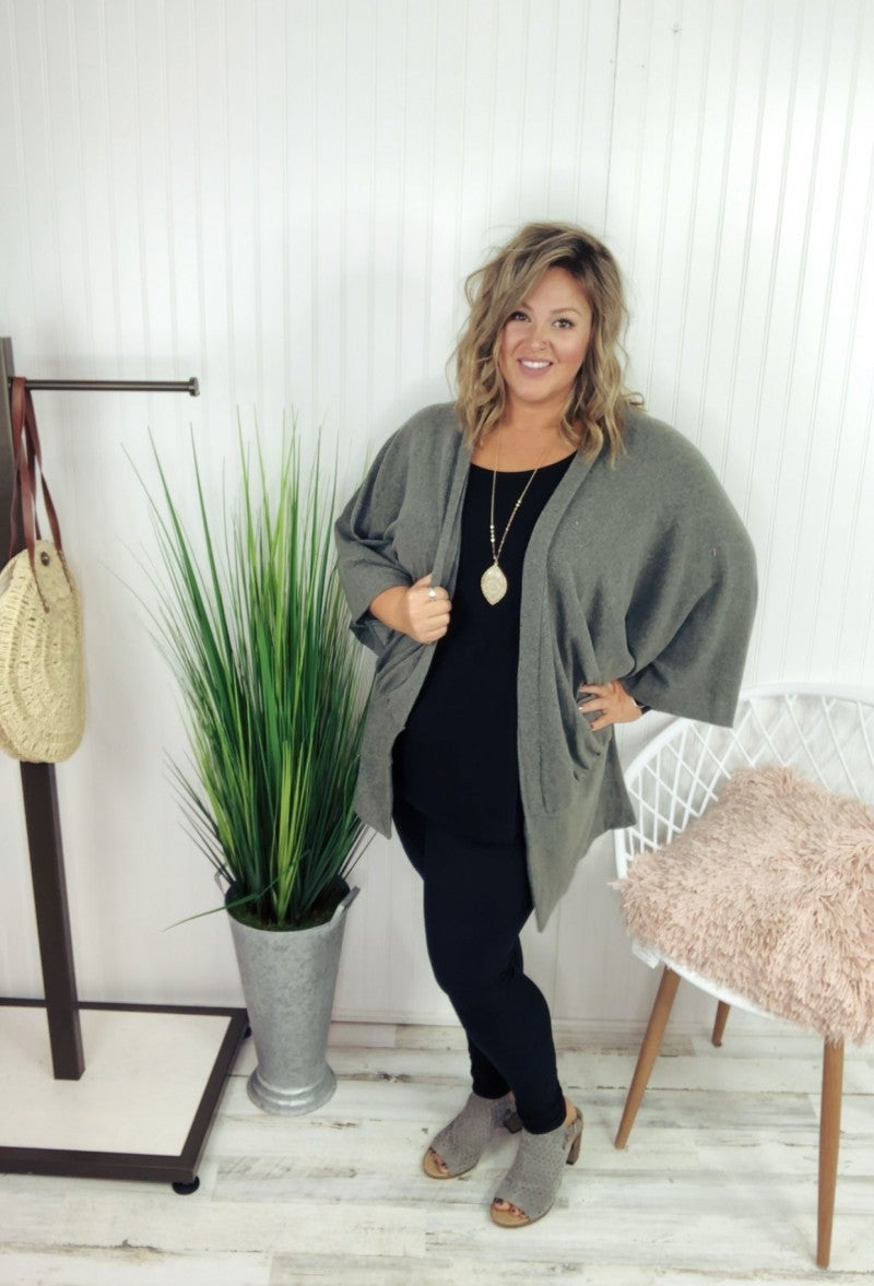#Extra Olive Brushed Knit Cardigan *Final Sale*
