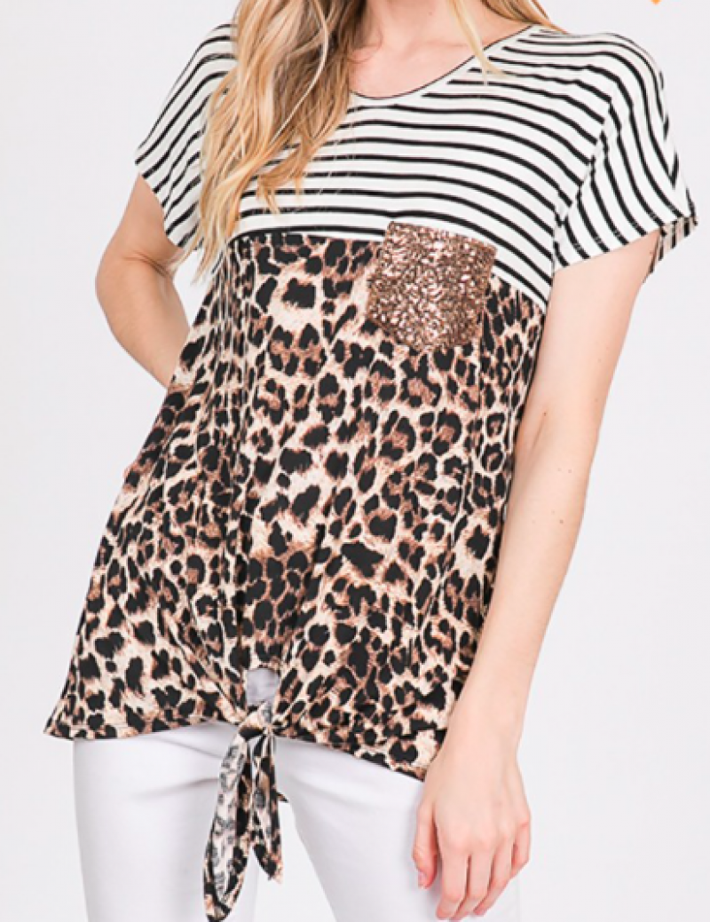 #Extra Leopard Stripe Sequin Tie Top