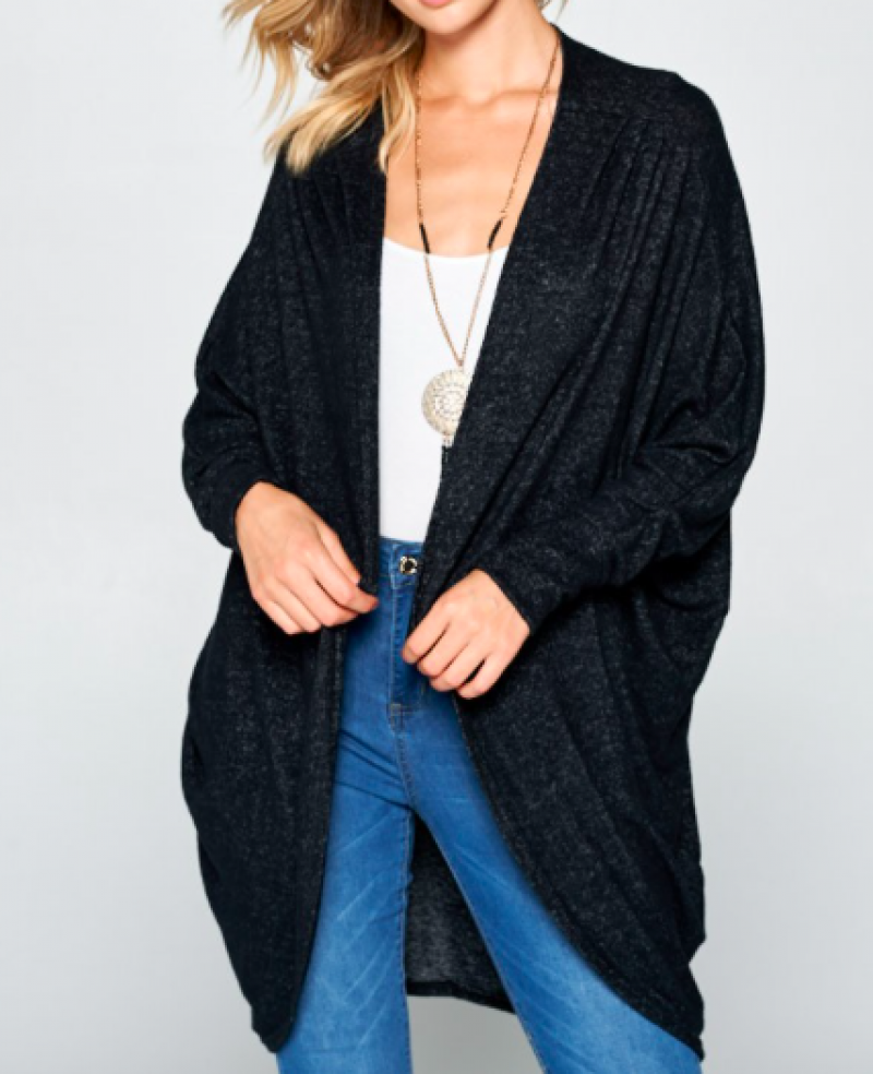 Hacci Brush Open Front Cardigan