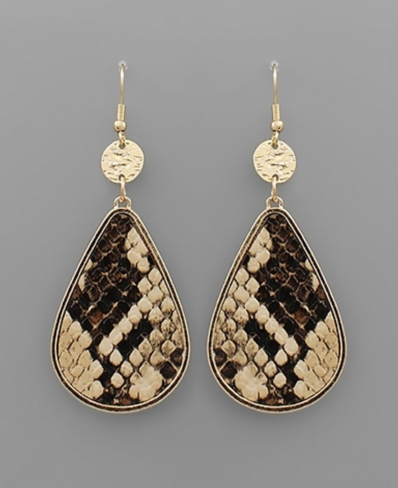 Gold & Snake Teardrop Earrings