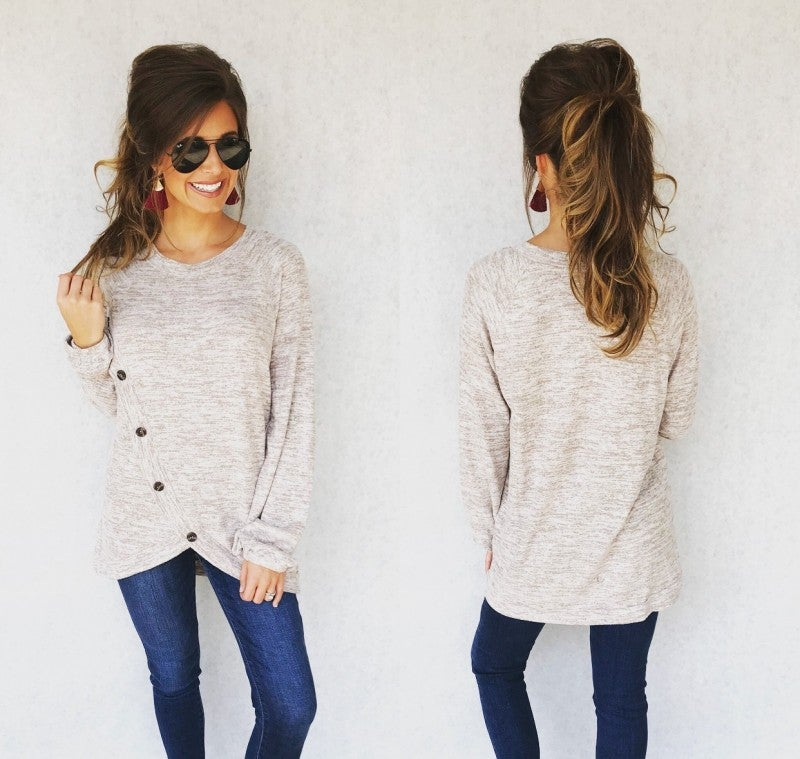 Let's Taupe About It Button Top