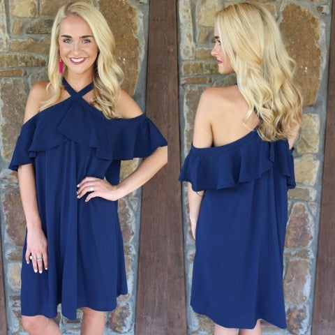Navy Ruffled Sleeve Cold Shoulder Dress