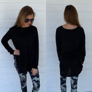 Black Side Slit Long Sleeve Top