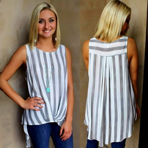 Black Striped Sleeveless High Low Top/FINAL SALE