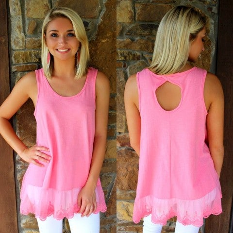 Bright Pink Lace Bottom Top/ FINAL SALE