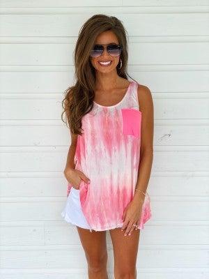 Tori Tie Dye Top- Pink