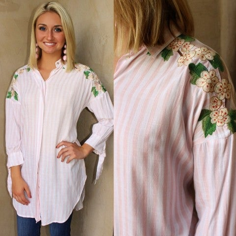 Baby Pink Button Down Embroidered Top/FINAL SALE