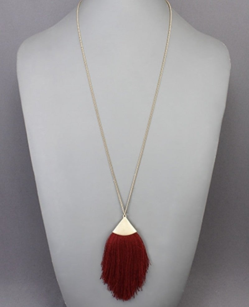 Cranberry Tassel Necklace