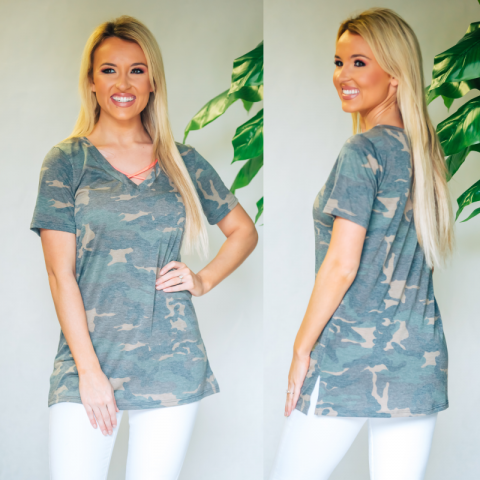 Camo Top With Neon Pink Criss Cross