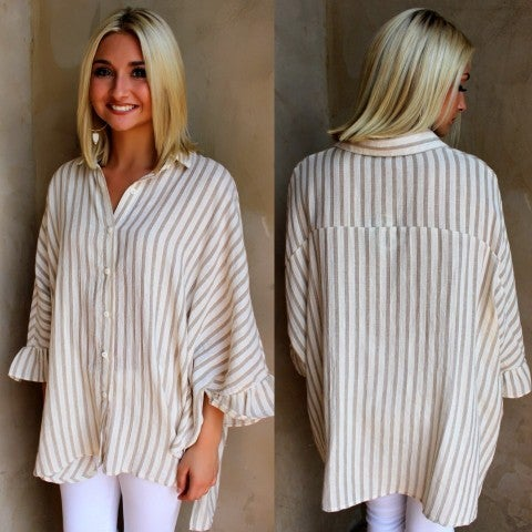 Light Taupe Striped Button Down Top