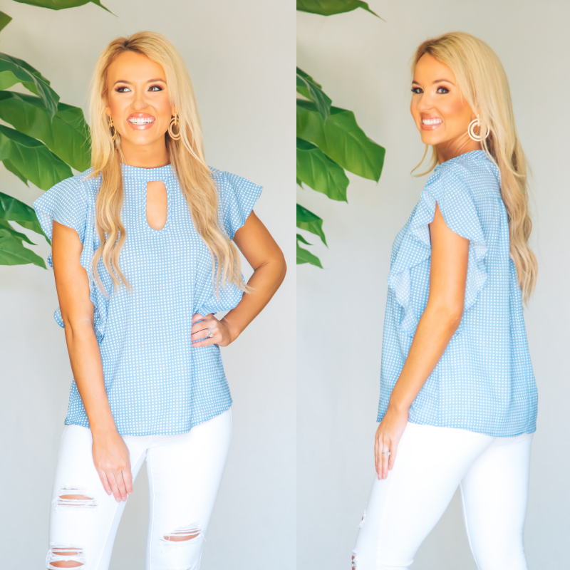 Darling Dot Print Ruffled Top - Sky Blue