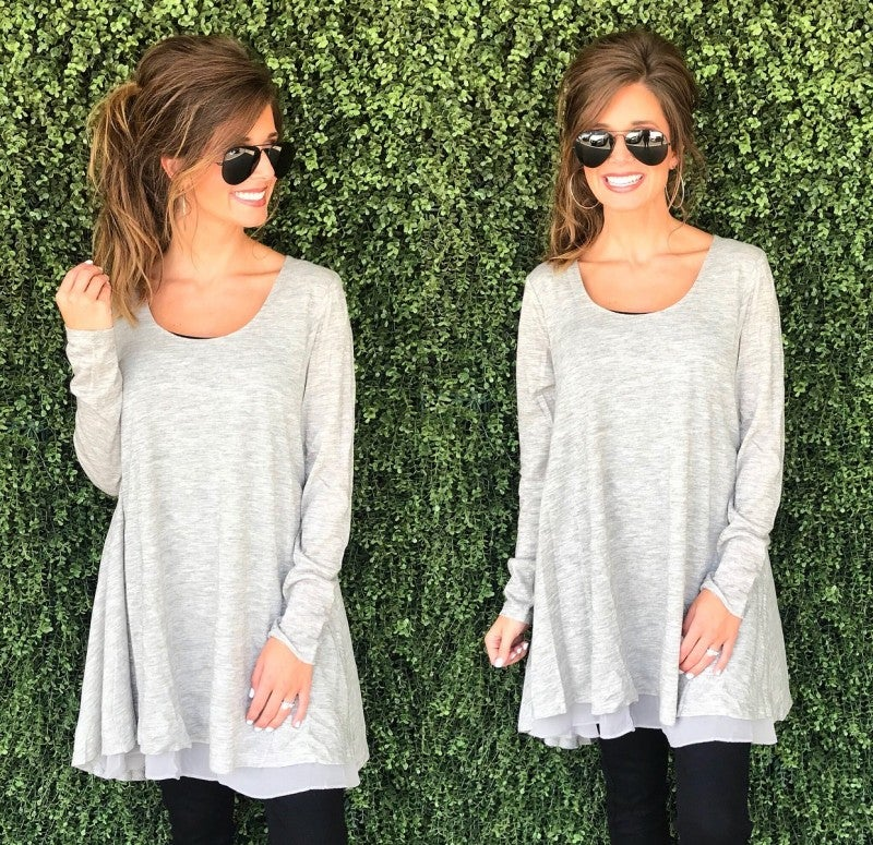 All About Me Heather Grey Tunic