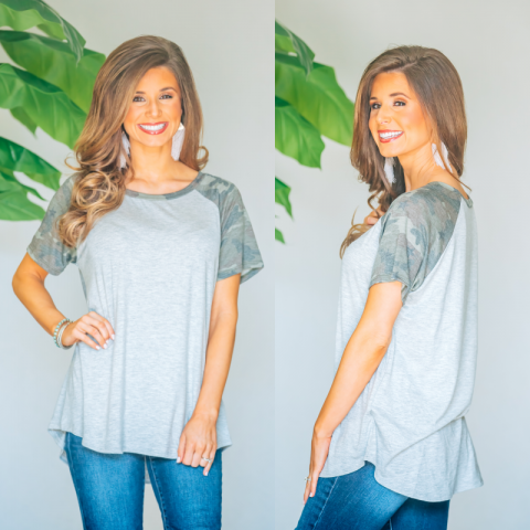 Grey Top With Camo Sleeve