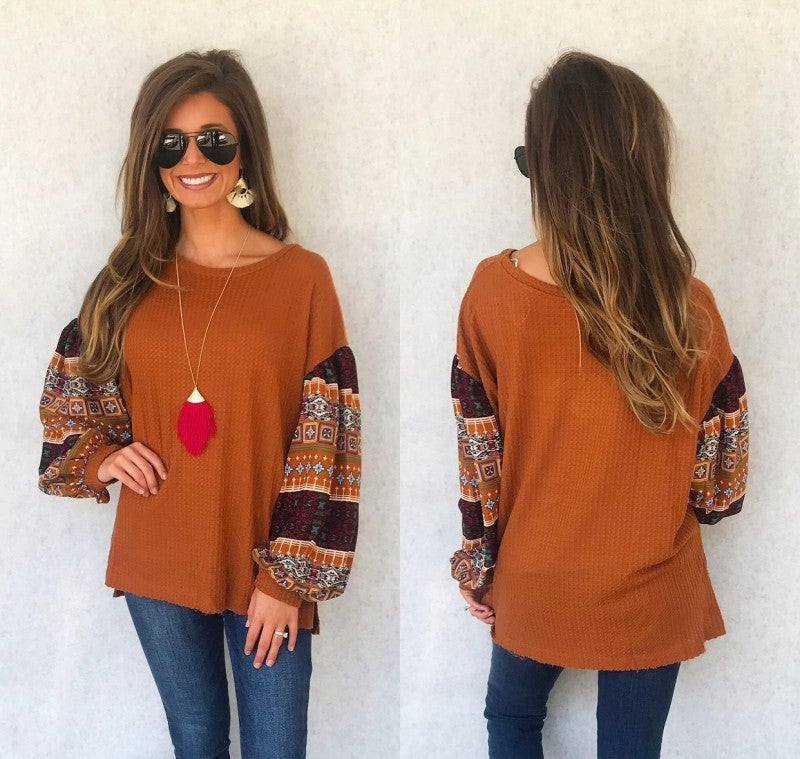All About Prints Sleeve - Camel
