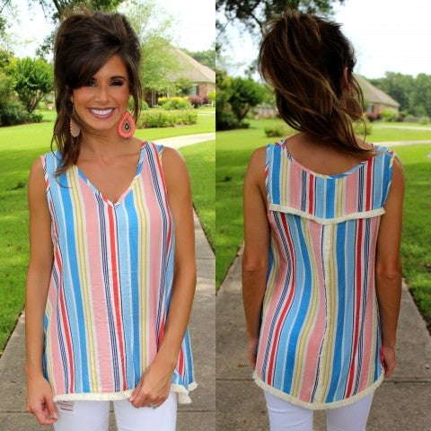 Up and Away Striped Top/FINAL SALE