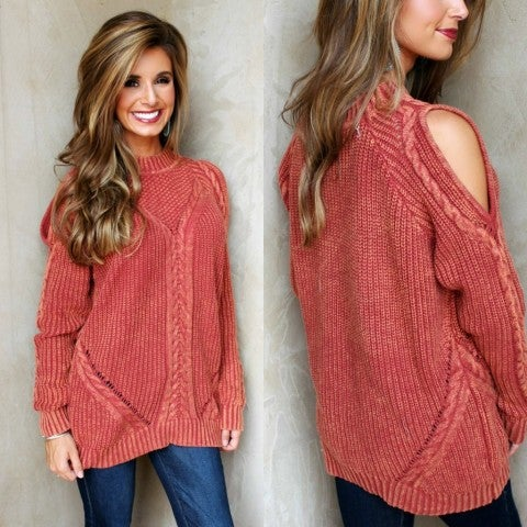 Autumn Is Calling Open Shoulder Sweater