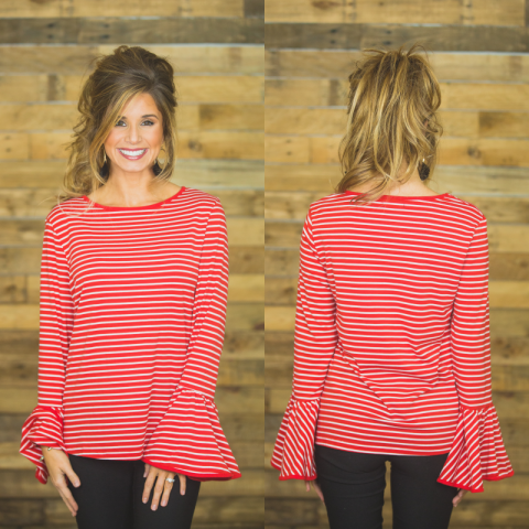 Candy Cane Striped Bell Sleeve Top