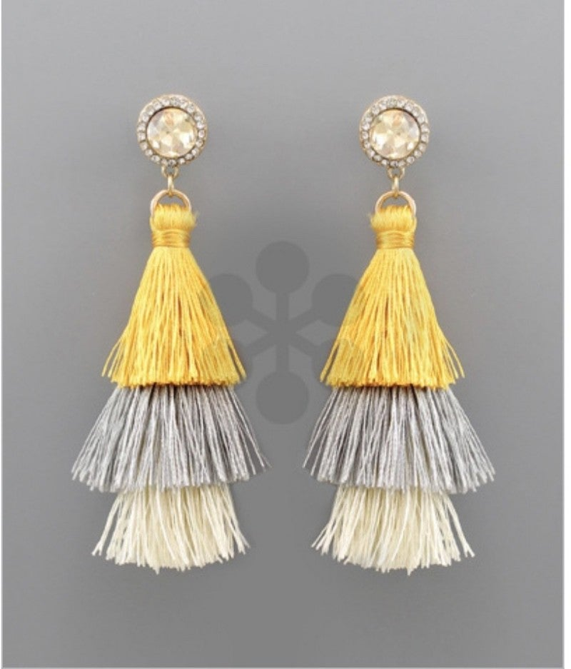Diamond Tiered Mustard Tassel Earrings