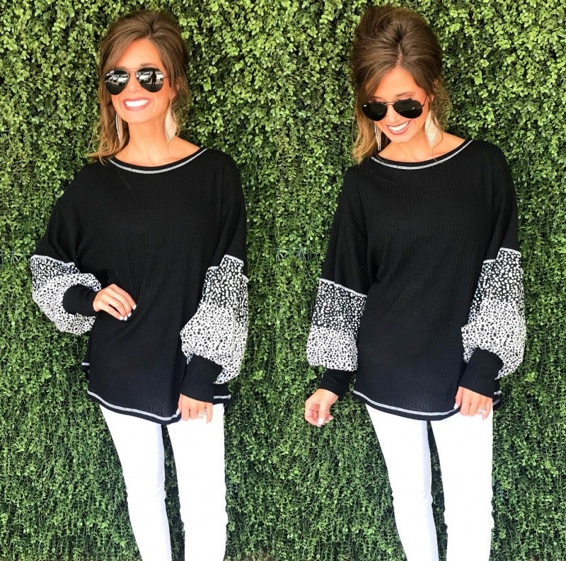 Black Spotted Sleeve Top