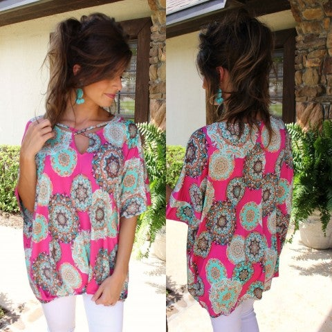 Pink Party Print Top