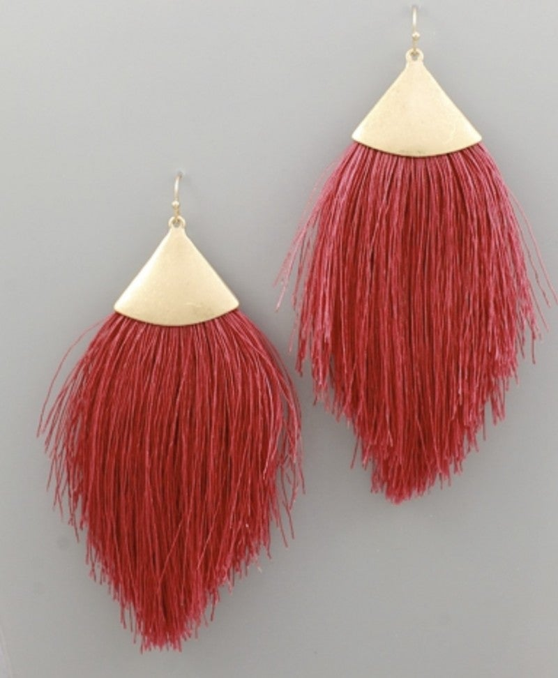 Cranberry Tassel Earrings