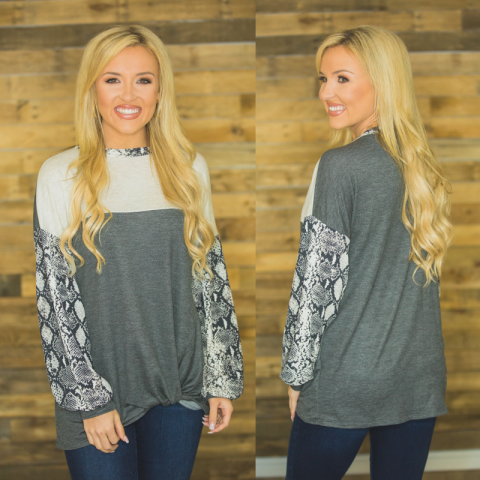 Oatmeal & Charcoal Top with Snake Print Detail