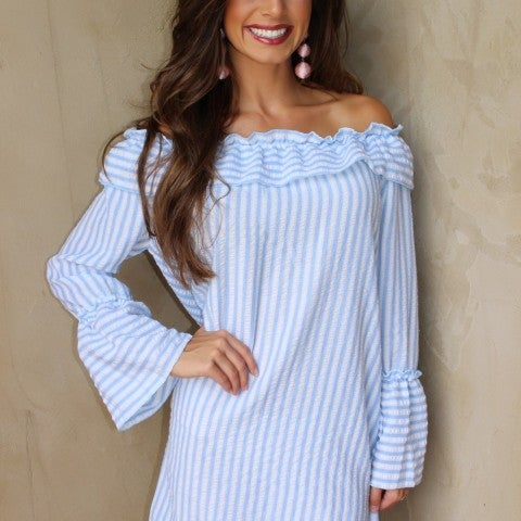 Blue and White Off Shoulder Striped Seersucker Dress