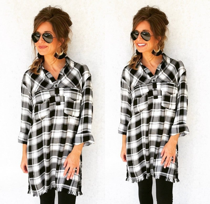 Pretty Please Plaid Tunic
