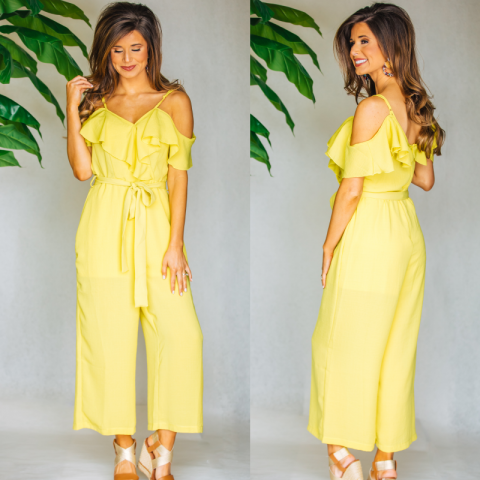 Sweet Simplicity Jumpsuit- Lime