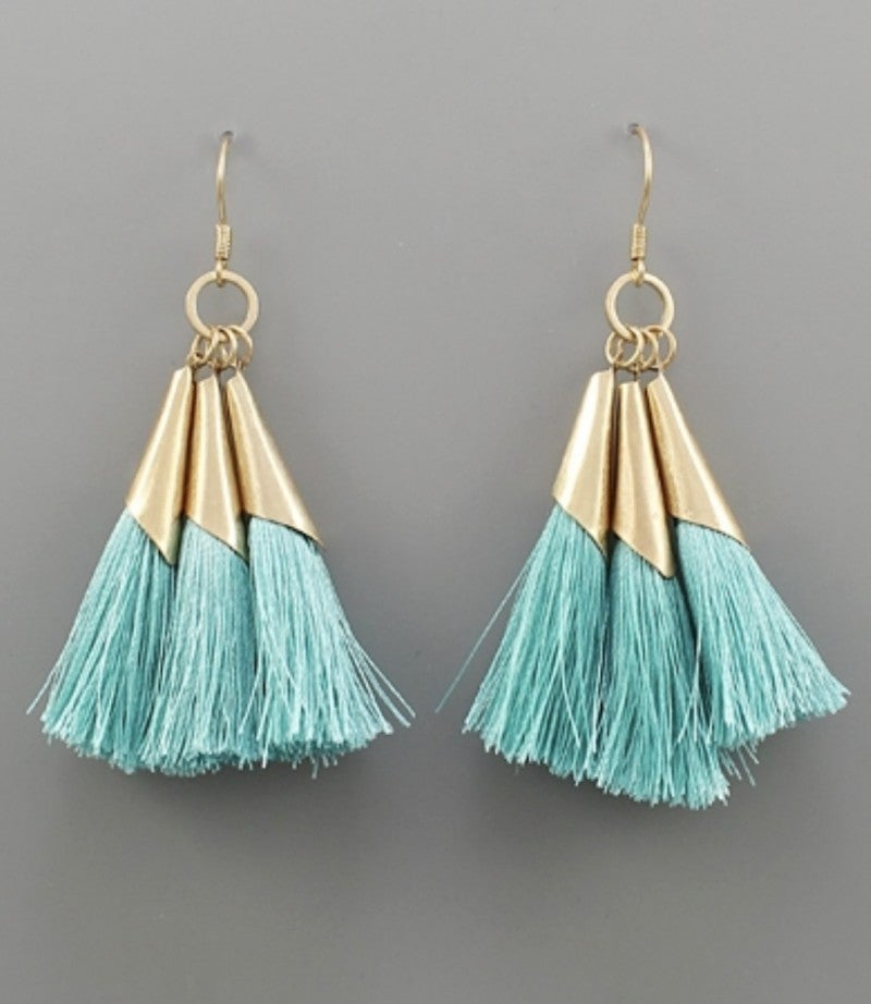 Dainty Mint & Gold Tassel Earrings