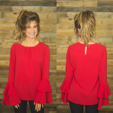 Red Layered Sleeve Top