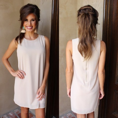Tan Zipper Back Dress