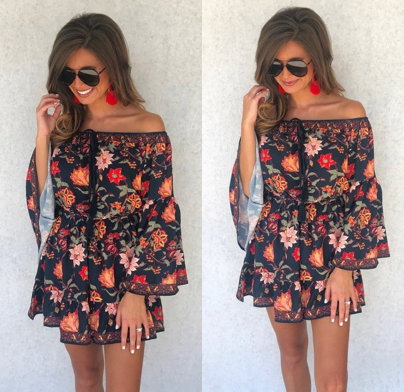 Neely Navy Floral Romper