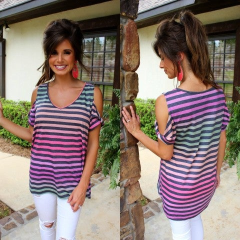 Navy and Purple Striped Open Shoulder Top