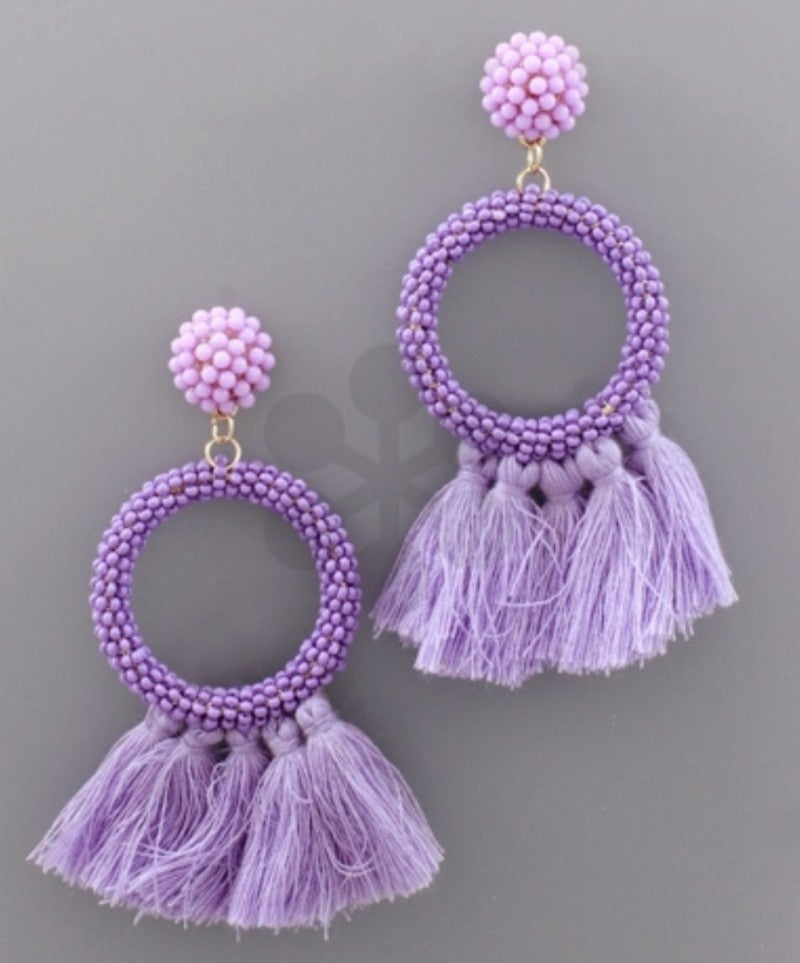 Seed Bead & Tassel Earrings- Purple
