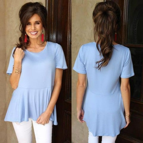 Light Blue Peplum Top/ FINAL SALE