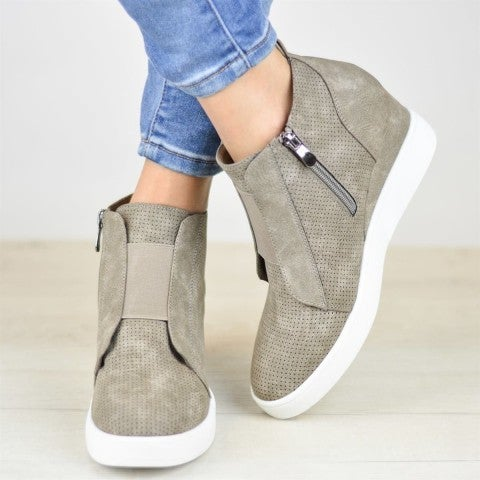 Taupe Wedge Sneakers