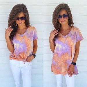 Tara Tie Dye Top- Lavender