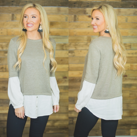 Taupe Top with Button Bottom